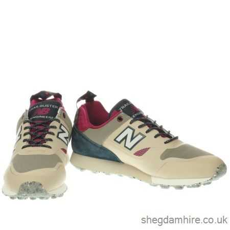 new balance beige & navy trailbuster trainers